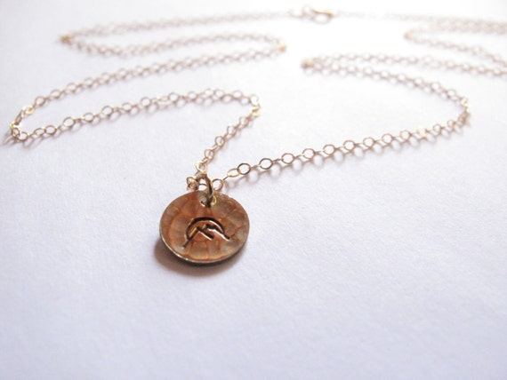 Sunrise Over a Mountain Necklace  Engraved Necklace  Strength Necklace  Hand-Stamped  Birthstone and Initial Necklace