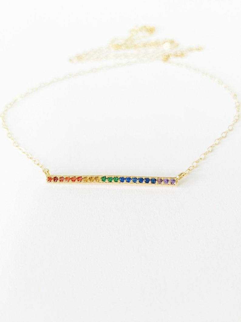 Sister  Gift Cubic Zirconia Bar Necklace  Crystal Necklace  Bar Necklace  Layering Necklace  Gift for Her  Mother Daughter