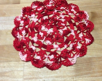 Berka Shell Crochet Doily Handmade Variegated shades of Red pink 8 inches