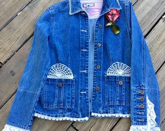 Shabby Chic Upcycled Denim Jacket