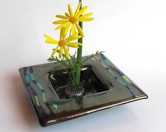 Fused Glass Ikebana - Iridized Glass Flower Vase - Fused Glass Bowl - Dichroic Glass Vessel -  Iridized Glass Ikebana - Art Glass Bowl