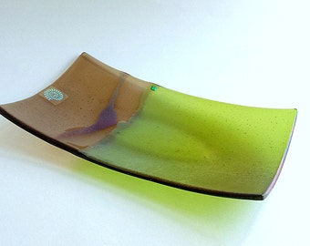 Green and Taupe Fused Glass Sushi Dish - Earthtone Fused Glass - Leaf Green Serving Dish - Green Iridized Glass Plate - Dichroic Accents
