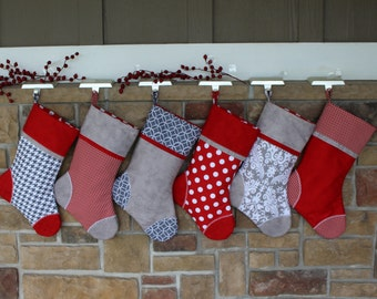 Personalized Christmas Stockings w/ Embroidered Tags. Handmade Holiday Stocking. Quality Christmas Stocking. Embroidered Stockings. Quilted.