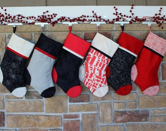 Striking Custom Christmas Stocking with Embroidered Tags. Plush, Best Quality. Disney Black and Red.  Perfect Gift. Black Tie Affair.