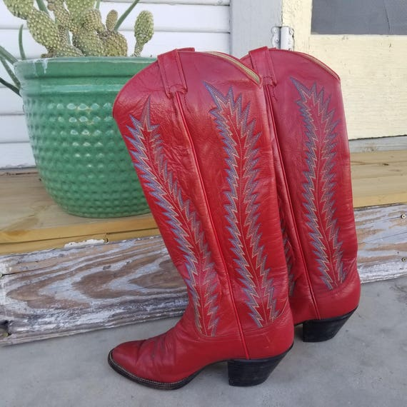 Blue Blazes!  Tall Red Cowboy Boots