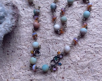 SMOOTHIE gentle stone strand in matte amazonite with tiny dangles for flavor