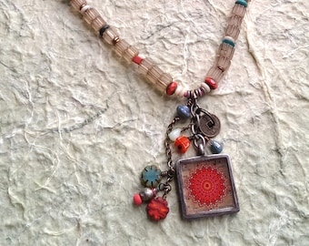 RED MANDALA Little trinket necklace with old Nepali trade beads and Czech cut flower beads