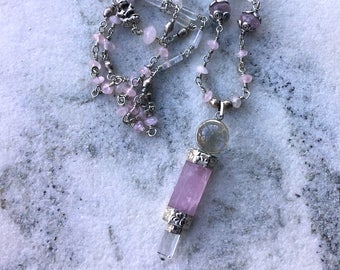 WAND of the GODDESS Magical rose quartz crystal pendant with  silver flower and creature beads