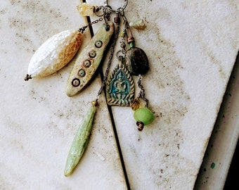 Brief Period of the Soul: Long Rustic Artisan Treasure gemstone necklace