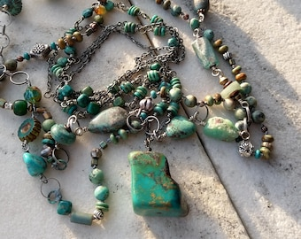 EIRENIKON - the image of peace in  turquoise, chrysoprase ancient roman glass - two necklace set