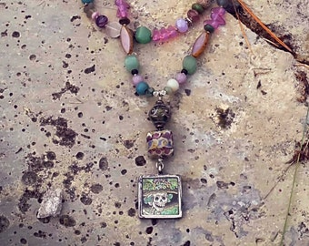 KATRINA MILAGRO  necklace with artisan pendant, jade and czech opal beads
