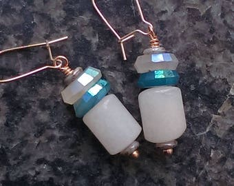 SPACE CAPSULES capsular pale pink african opal with apatite and chalcedony cairn earrings