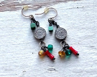 ELEMENTS earrings little geometries of  coral turquoise and saffron with sun symbol