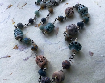 What we Left Behind: Play on Alien Artifacts necklace of Chunky Amazing Artisan Beads and Gemstone Nuggets