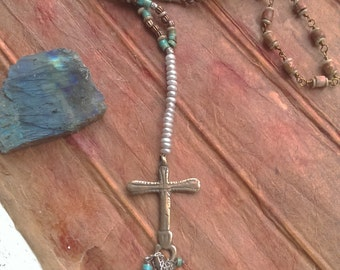 SOUTHWEST CROSS handcast artisan cross with pearl and turquoise