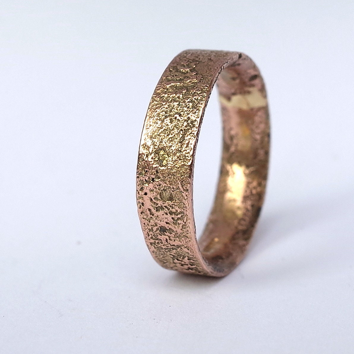 9bf790881ff33 Rustic Gold Engagement Ring for Men in 9k Rose Gold, Size 9.5