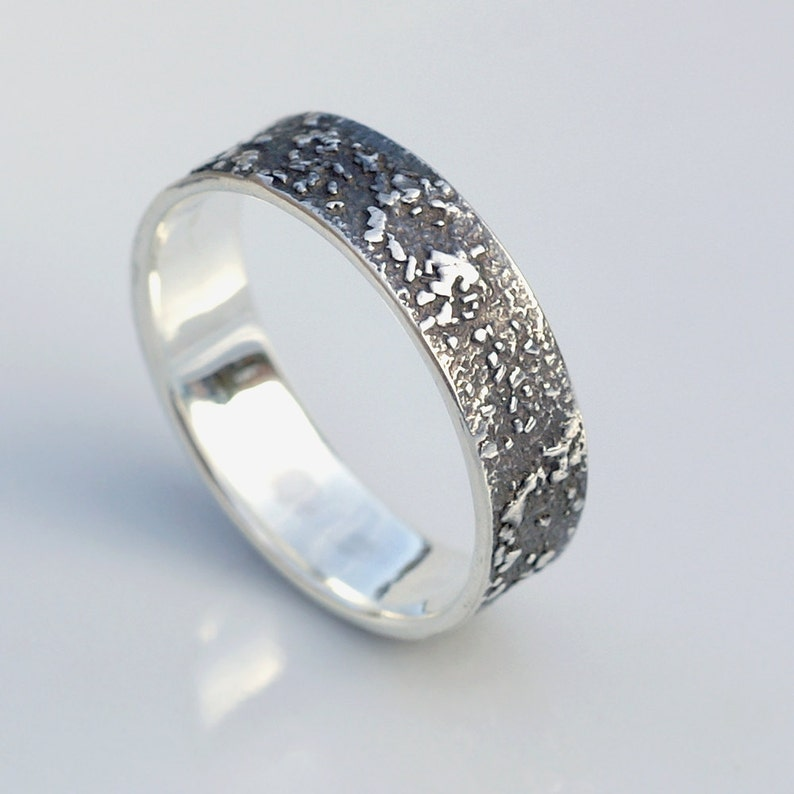 His and Hers Silver Chaos Oxidized Sterling Silver Rustic Wedding Band