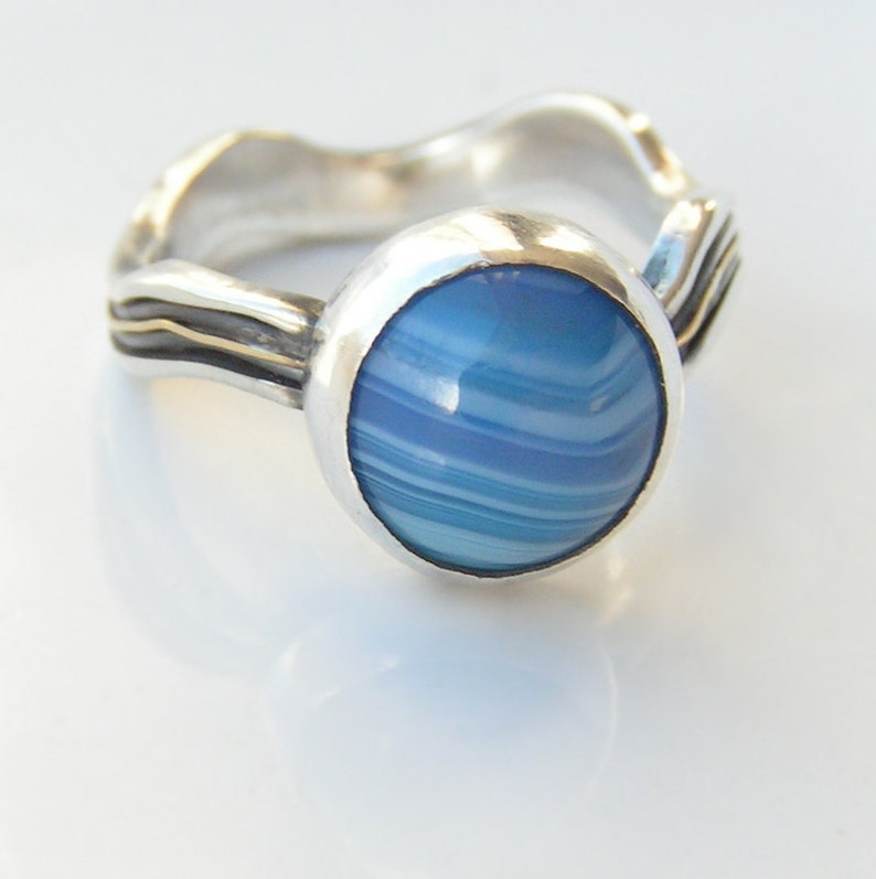 River Ring Sterling Silver and 18ct Yellow Gold Unique Ring with Blue Agate