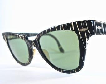 Ray-Ban vintage cat eye sunglasses. Zanzibar zebra striped black and white. Horn rimmed 1950s. Non prescription lenses.