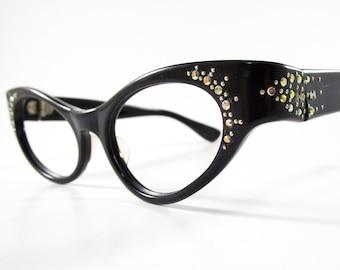 Vintage cat eye glasses wrap around style black plastic aurora borealis rhinestones 1950s women's eyeglasses