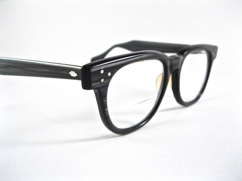 47a534edbb FDR style horn rimmed eyeglasses. Gray woodgrain rare