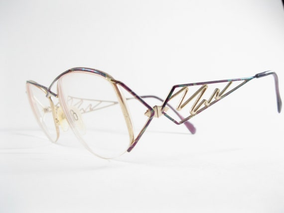 Abstract vintage eyeglasses Neostyle gold unique o