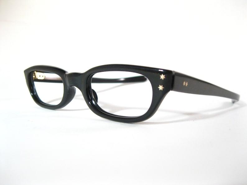 27a43ccfa1524 Black cat eye glasses. Vintage 1950s 1960s stars new old stock