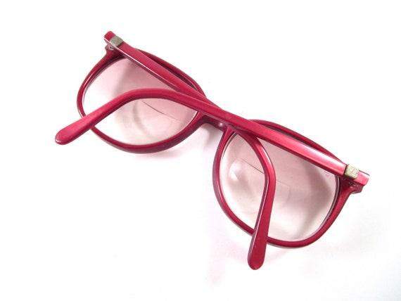 Oversized red eyeglasses 1970s vintage large roun… - image 5