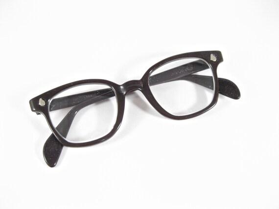 AO horn rimmed eyeglasses frames. Dark brown safety glasses | Etsy