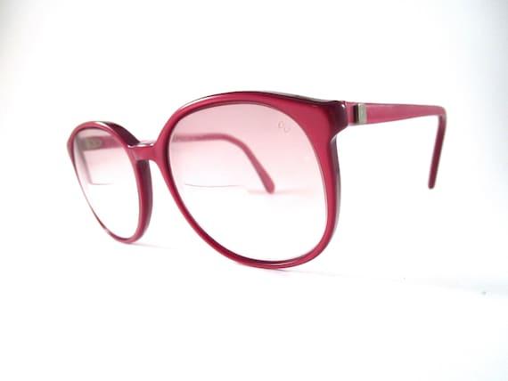 Oversized red eyeglasses 1970s vintage large roun… - image 1