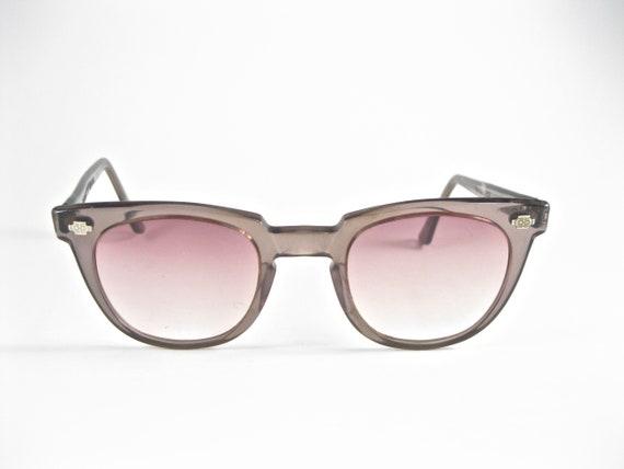 8ad2e58db4 Vintage safety horn rimmed eyeglasses. Titmus Z87 Translucent