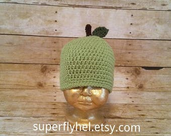 Apple Hat, Green Apple Hat, Apple Harvest Beanie, Apple Orchard Hat, Apple Photo Prop, Green Apple
