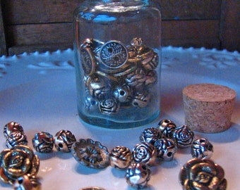 Floral Metal Silver and Gold Button Bead Assortment in Corked Bottle