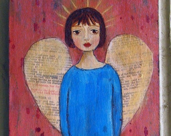 One of a Kind Original Mixed Media Wood Panel - Compassion