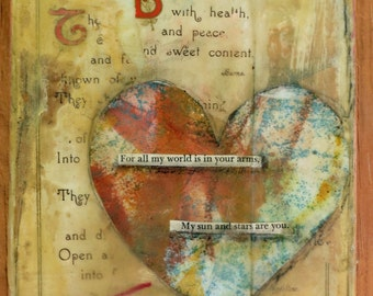 """Mixed Media Collage One of a Kind Original Art Wall Decore- """"Song One"""""""