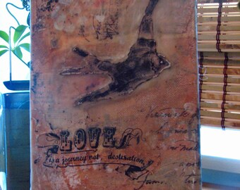 Love is a Journey:  Original One of a Kind Mixed Media Art Wall Decor