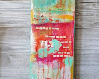 """Original Mixed Media Collage 8 x 8 Canvas """"You Will Live in Joy and Peace"""""""