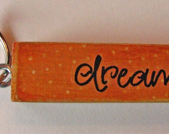 Upcycled Wood Block Game Piece Floatable Keychain