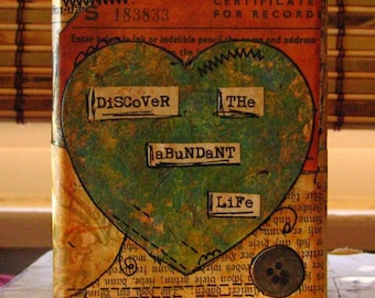 Wood Art Block Collage Mixed Media Decor:  Discover