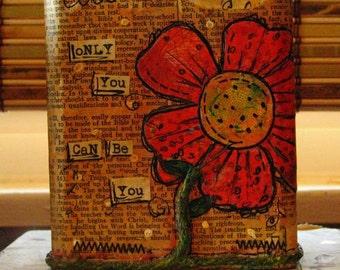 Wood Block Mixed Media Collage Art Decor:  Beautiful