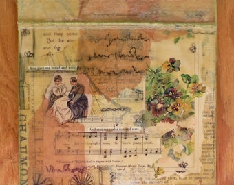 "Mixed Media Collage One of a Kind Original Art Wall Decor ""Song Three"""