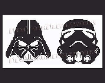 Star Wars Cross Stitch, Star Wars Pattern, Darth Vader, Star Wars, Storm Trooper, Star Wars Crochet, Cross Stitch by NewYorkNeedleworks Etsy
