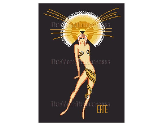 erte art deco woman erte cross stitch leopard cross stitch etsy