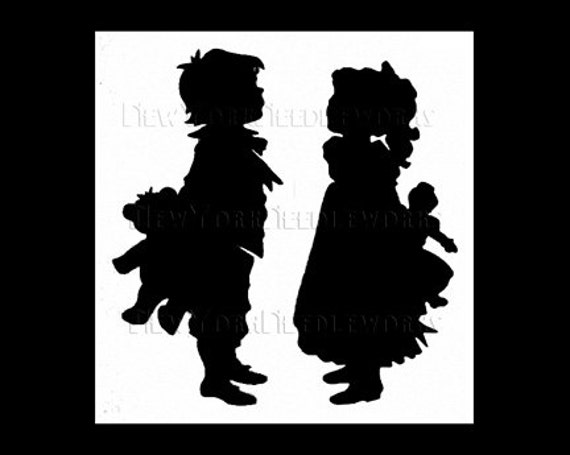 Children Silhouette Cross Stitch Bees from NewYorkNeedleworks on Etsy Boy With Beehive Cross Stitch Bees Cross Stitch Beehive Pattern