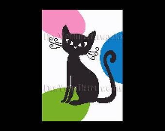 Retro Cat Cross Stitch, Cat Cross Stitch, Cat Silhouette, Needlepoint Patterns, Cat Pattern, Cat Pattern by NewYorkNeedleworks on Etsy