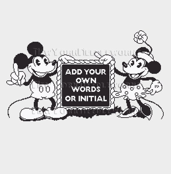 Mickey and Minnie Mouse Cross Stitch Mickey and Minnie | Etsy
