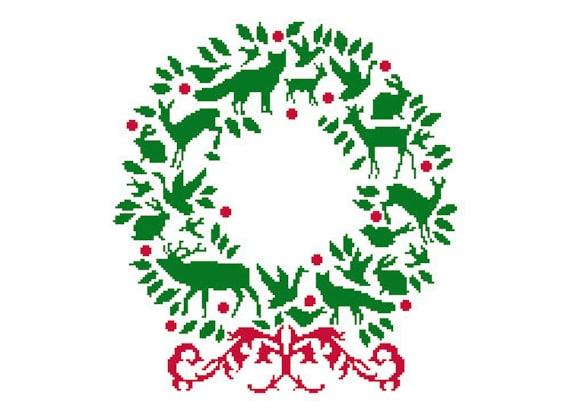Christmas Wreath Silhouette.Christmas Wreath Cross Stitch Woodland Wreath Animal Wreath Christmas Cross Stitch Silhouette Pattern Wreaths By Newyorkneedleworks