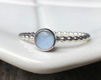 5mm Opal October Birthstone Sterling Silver Gemstone Ring