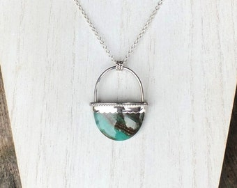 Silver Oval Agate Statement Pendant