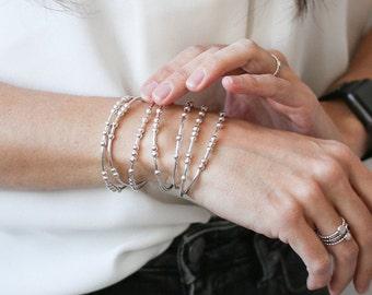 PERSONALIZED Silver Bracelet, Morse Code Bangle